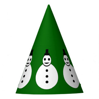 Smiling Christmas Snowman Party Hat