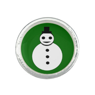 Smiling Christmas Snowman Ring