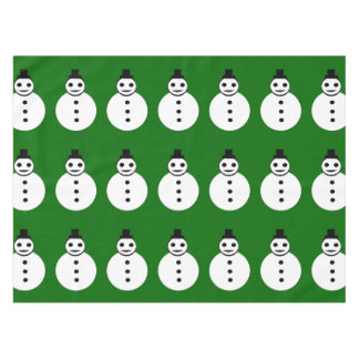 Smiling Christmas Snowman Tablecloth