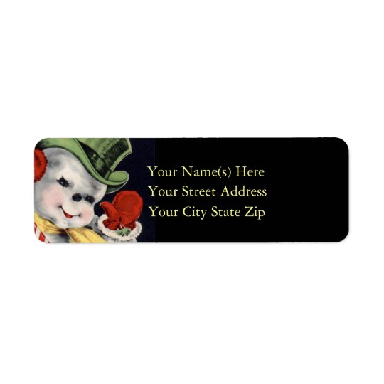 Smiling Christmas Snowman Waves Hello Return Address Label