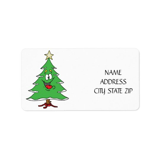 """SMILING CHRISTMAS TREE"" HOLIDAY ADDRESS LABEL"