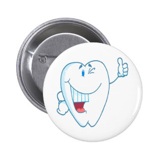 Smiling Clean Tooth Cartoon Character Thumbs Up.ai 6 Cm Round Badge