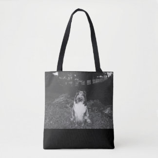Smiling collie tote bag