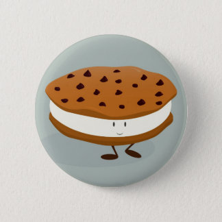Smiling cookie and ice cream sandwich 6 cm round badge