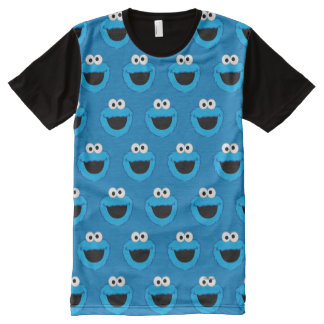 Smiling Cookie Monster Pattern All-Over Print T-Shirt