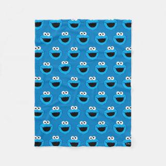 Smiling Cookie Monster Pattern Fleece Blanket