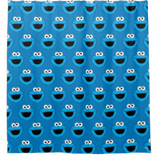Smiling Cookie Monster Pattern Shower Curtain