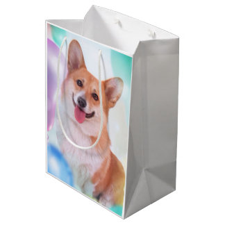 Smiling Corgi with Balloons Medium Gift Bag