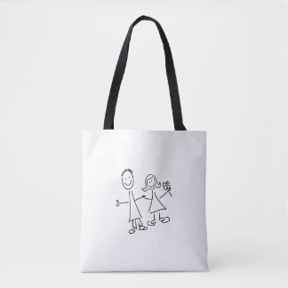 Smiling Couple of Hand in Hand Lovers Drawing Bag