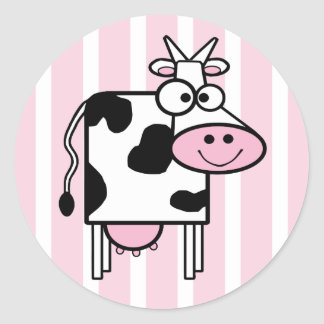 Smiling Cow Girly Animal Print Classic Round Sticker