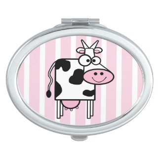 Smiling Cow Girly Animal Print Makeup Mirror