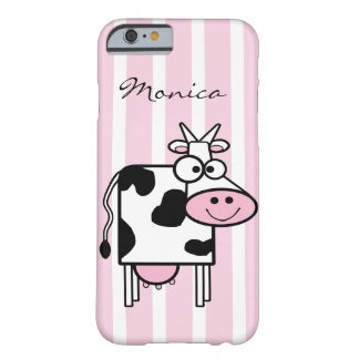 Smiling Cow Girly Animal Print Monogrammed Barely There iPhone 6 Case