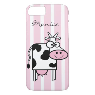 Smiling Cow Girly Animal Print Monogrammed iPhone 7 Case