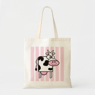 Smiling Cow Girly Animal Print Budget Tote Bag