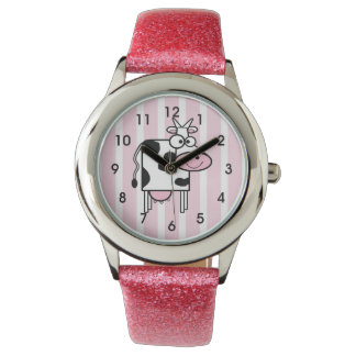 Smiling Cow Girly Animal Print Wristwatches