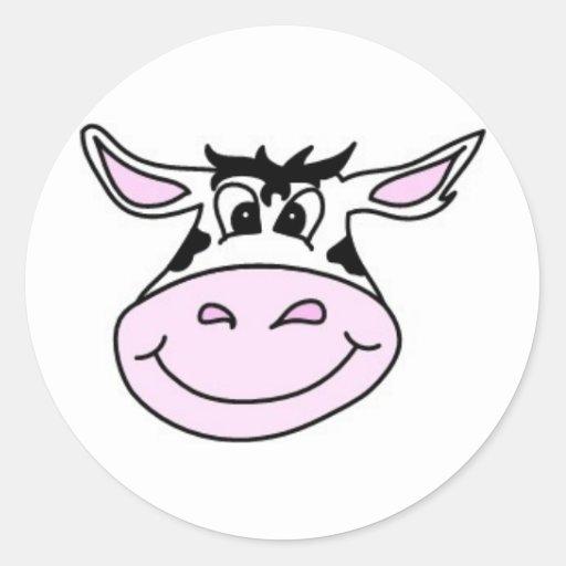 Smiling Cow Round Sticker