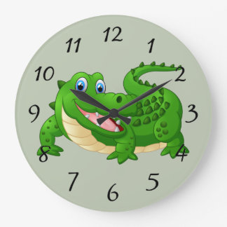 Smiling Crocodile Cartoon Large Clock