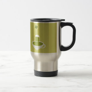 Smiling cup of green tea with tea bag stainless steel travel mug