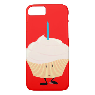 Smiling cupcake with blue candle iPhone 7 case
