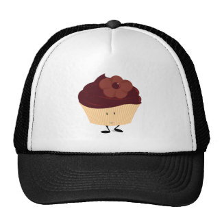 Smiling cupcake with chocolate flower frosting hats