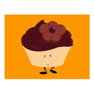Smiling cupcake with chocolate flower frosting postcard