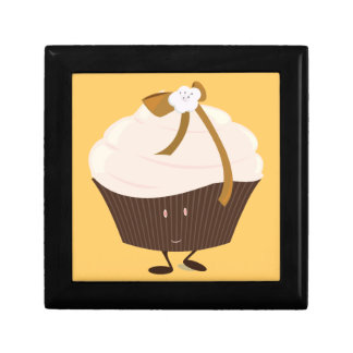 Smiling cupcake with flower and bow jewelry box