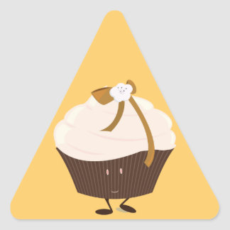 Smiling cupcake with flower and bow triangle sticker