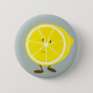 Smiling cut lemon 6 cm round badge