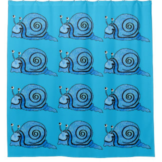 Smiling Cute Snails in Pretty Blues Shower Curtain