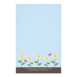 Smiling Daisies & Butterflies Note Paper Custom Stationery