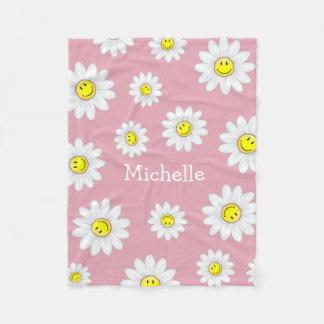Smiling Daisy Flower Fleece Blanket