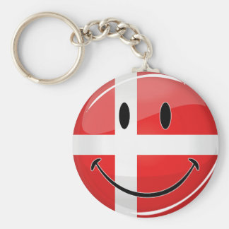 Smiling Denmark Danish Flag Basic Round Button Key Ring
