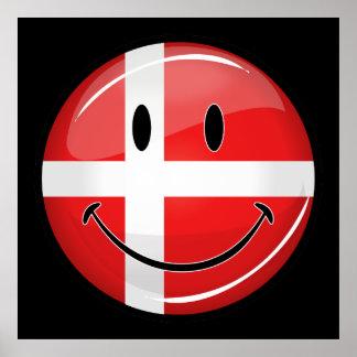 Smiling Denmark Danish Flag Poster