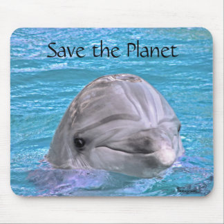 Smiling Dolphin - Save the Planet Mouse Pad