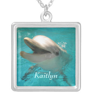 Smiling Dolphin Silver Plated Necklace