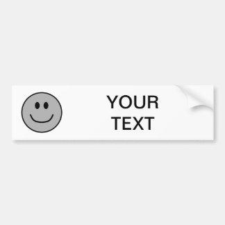 Smiling Face Bumper Sticker Grey 0002