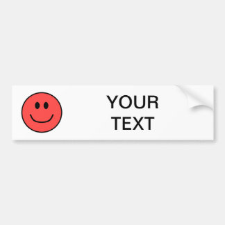Smiling Face Bumper Sticker Red 0002