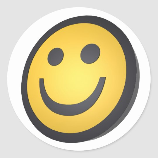 Smiling face classic round sticker
