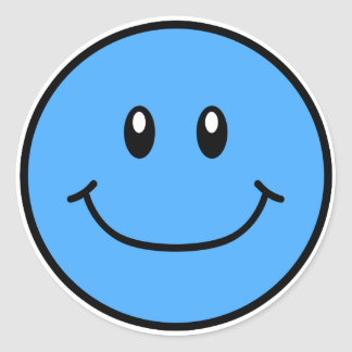 Smiling Face Stickers Blue 0001