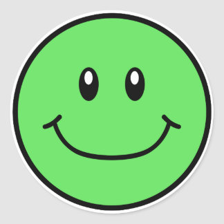 Smiling Face Stickers Green 0001