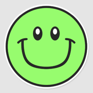 Smiling Face Stickers Green 0003