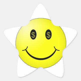 Smiling Face w/ Dollar Symbol Eyes Star Sticker