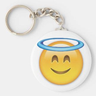 Smiling Face With Halo Emoji Basic Round Button Key Ring