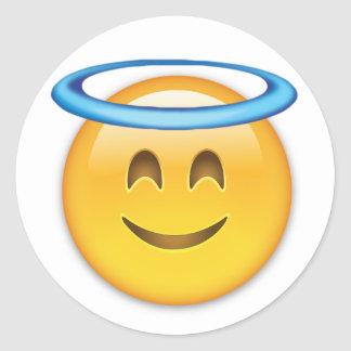 Smiling Face With Halo Emoji Classic Round Sticker