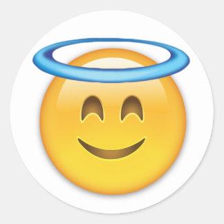 Smiling Face With Halo Emoji Round Sticker