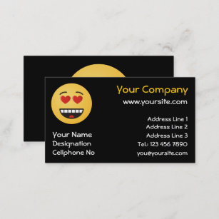 Heart shaped business cards business card printing zazzle uk smiling face with heart shaped eyes business card colourmoves