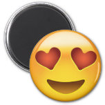 Smiling Face With Heart Shaped Eyes Emoji 6 Cm Round Magnet
