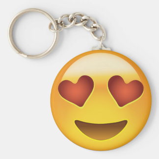 Smiling Face With Heart Shaped Eyes Emoji Basic Round Button Key Ring