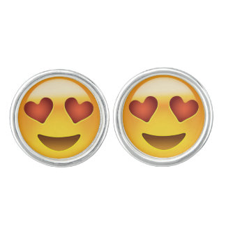 Smiling Face With Heart Shaped Eyes Emoji Cufflinks