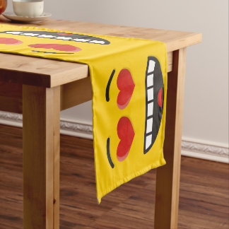 Smiling Face with Heart-Shaped Eyes Short Table Runner